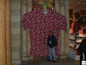 Kevin standing in front of the world's largest Hawaiian shirt